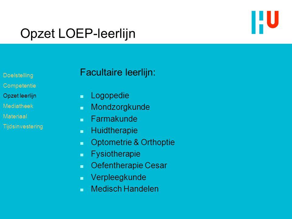 Opzet LOEP-leerlijn Facultaire leerlijn: n Logopedie n Mondzorgkunde n Farmakunde n Huidtherapie n Optometrie & Orthoptie n Fysiotherapie n Oefenthera