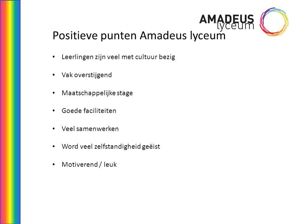 Negatieve punten Amadeus lyceum Geen boeken = geen voorbereiding voor de toets (thuis) Te veel leerlingen in de les ruimte Leerlingen schrijven zichzelf in voor een bepaald vak Niet voor elke leerling geschikt Scoort ver onder de norm (onderwijsinspectie rapport)
