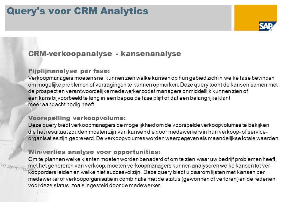Query s voor CRM Analytics CRM-verkoopanalyse - kansenanalyse Pijplijnanalyse per fase: Verkoopmanagers moeten snel kunnen zien welke kansen op hun gebied zich in welke fase bevinden om mogelijke problemen of vertragingen te kunnen opmerken.