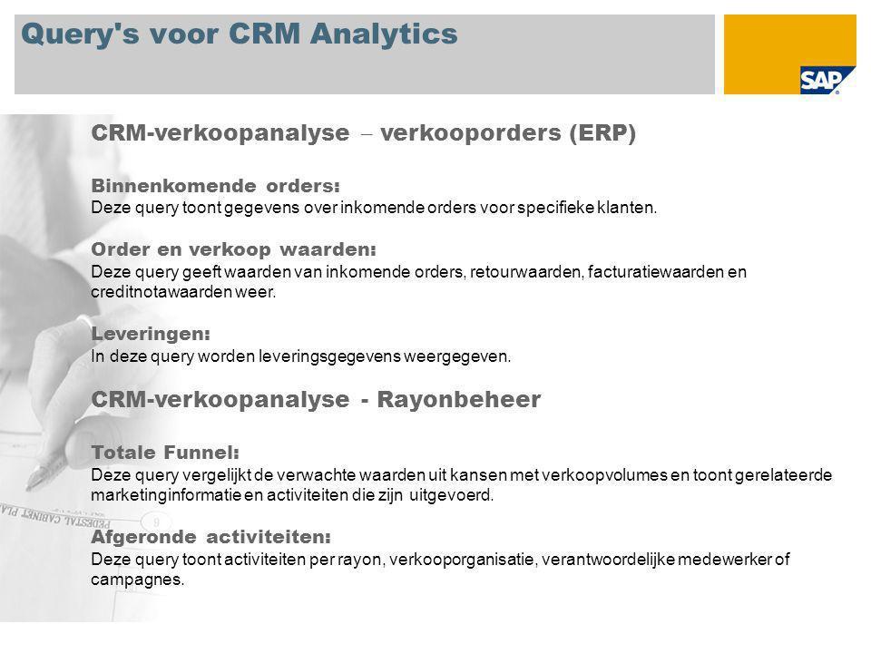 Query s voor CRM Analytics CRM-verkoopanalyse – verkooporders (ERP) Binnenkomende orders: Deze query toont gegevens over inkomende orders voor specifieke klanten.