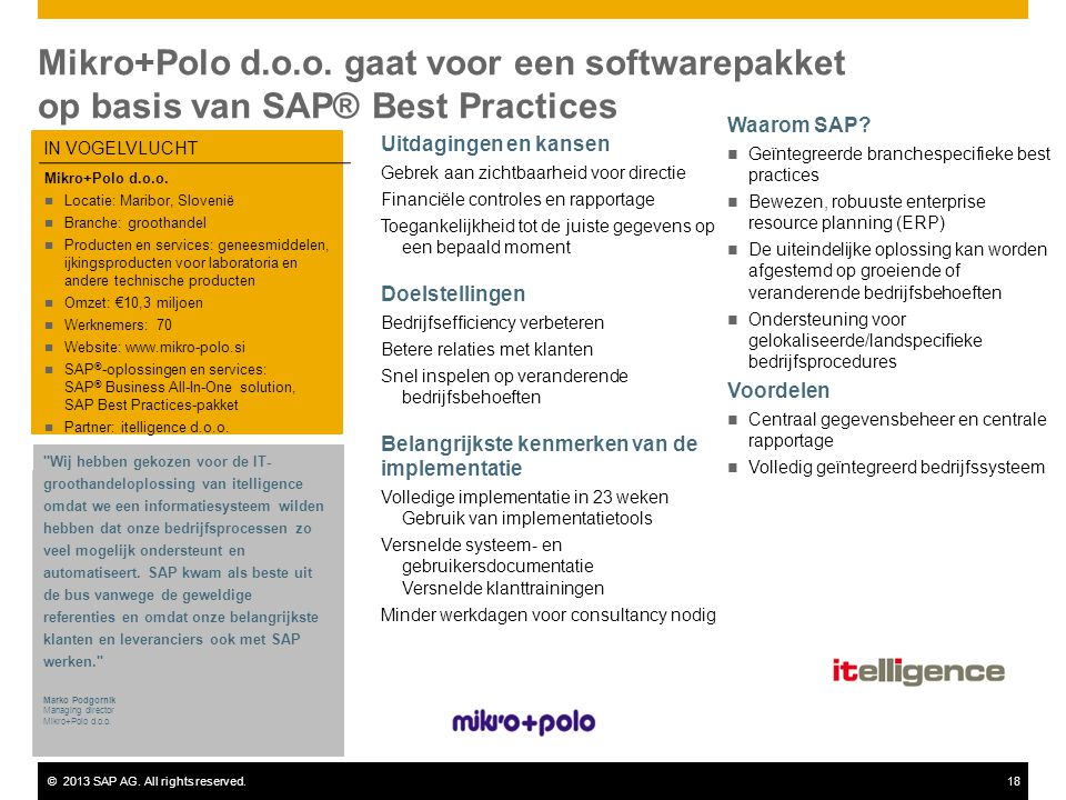 ©2013 SAP AG.All rights reserved.18 Mikro+Polo d.o.o.