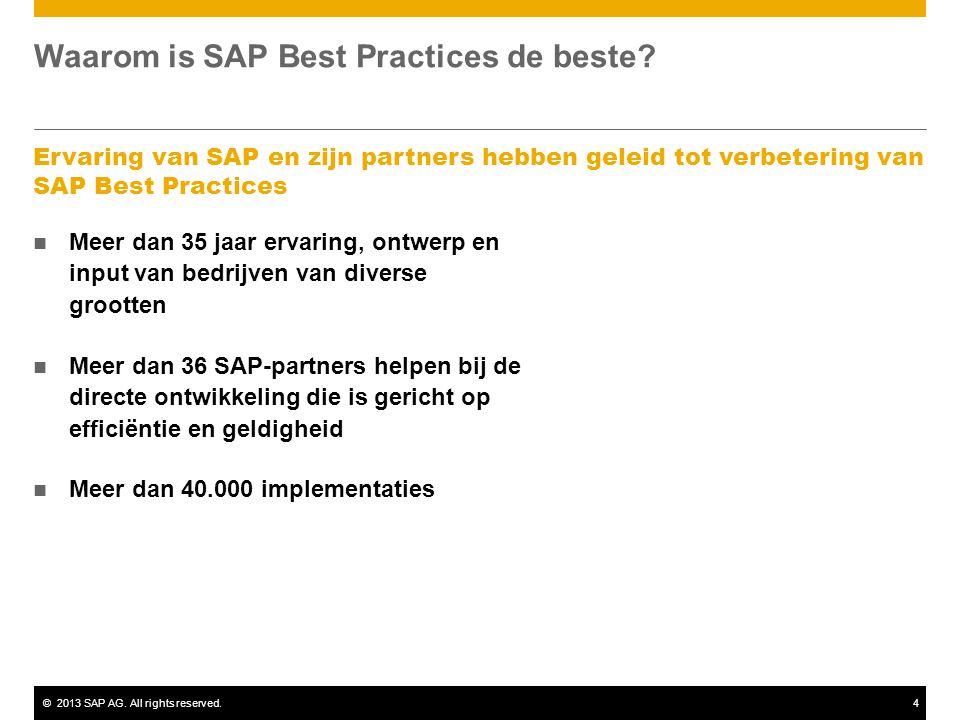 ©2013 SAP AG. All rights reserved.4 Waarom is SAP Best Practices de beste? Ervaring van SAP en zijn partners hebben geleid tot verbetering van SAP Bes