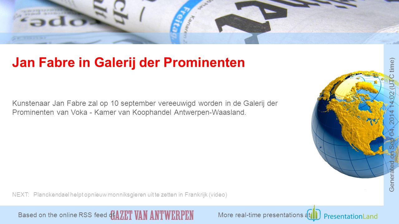 Jan Fabre in Galerij der Prominenten Kunstenaar Jan Fabre zal op 10 september vereeuwigd worden in de Galerij der Prominenten van Voka - Kamer van Koophandel Antwerpen-Waasland.