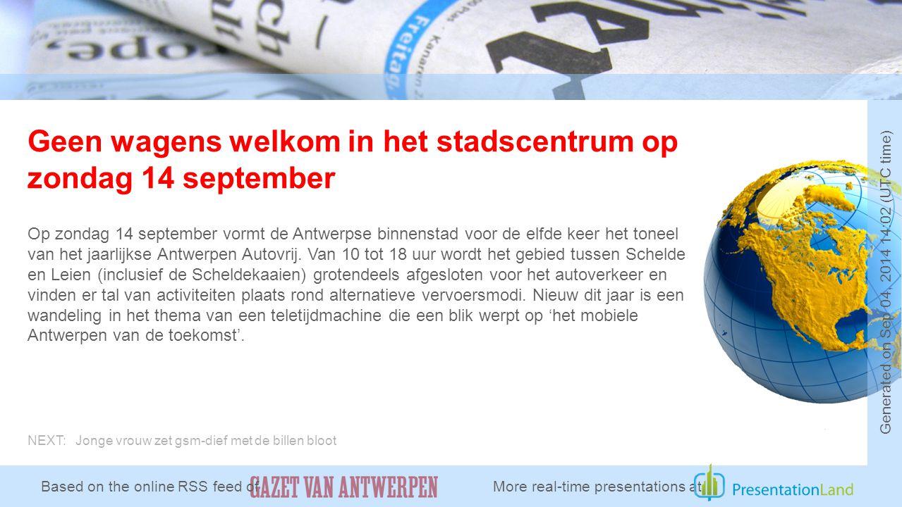 Geen wagens welkom in het stadscentrum op zondag 14 september Op zondag 14 september vormt de Antwerpse binnenstad voor de elfde keer het toneel van het jaarlijkse Antwerpen Autovrij.