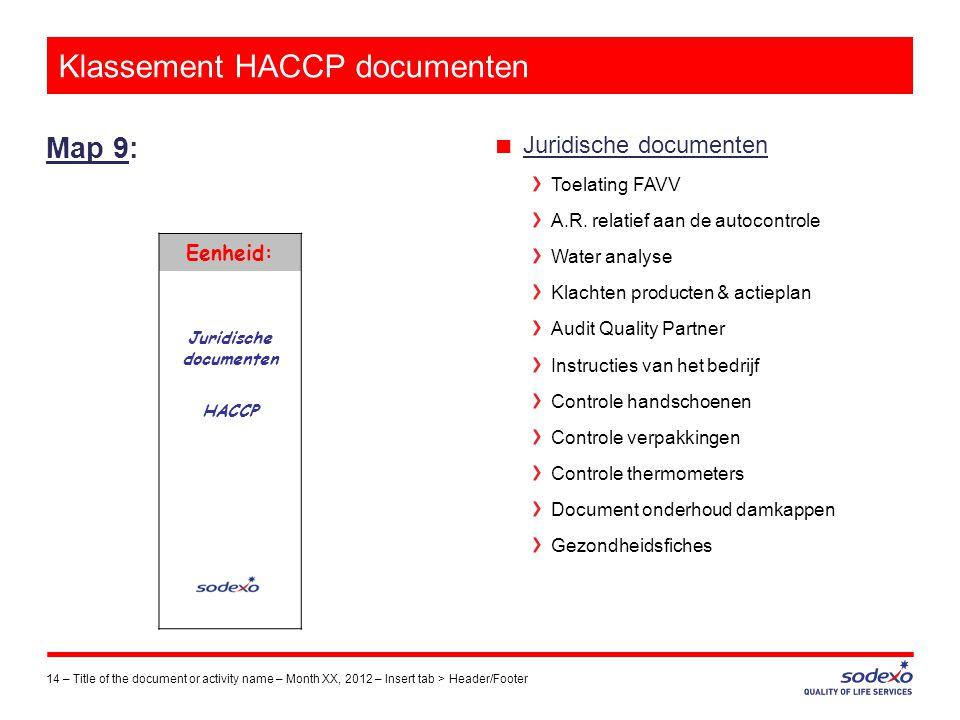 Klassement HACCP documenten Map 9: 14 –Title of the document or activity name – Month XX, 2012 – Insert tab > Header/Footer ■ Juridische documenten To