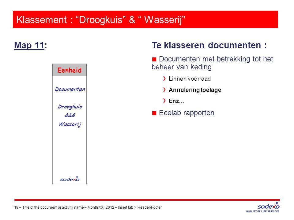 """Klassement : """"Droogkuis"""" & """" Wasserij"""" Map 11: 19 –Title of the document or activity name – Month XX, 2012 – Insert tab > Header/Footer Te klasseren d"""