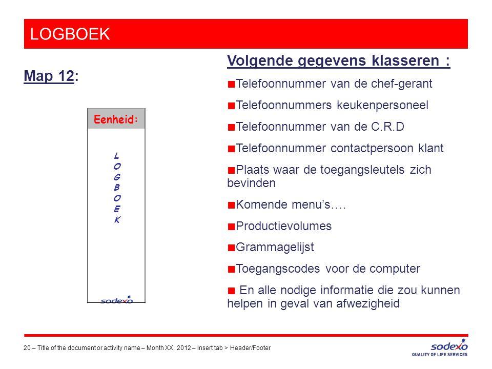 LOGBOEK Map 12: 20 –Title of the document or activity name – Month XX, 2012 – Insert tab > Header/Footer Volgende gegevens klasseren : ■ Telefoonnumme