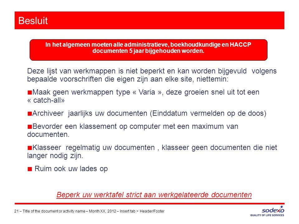 Besluit 21 –Title of the document or activity name – Month XX, 2012 – Insert tab > Header/Footer Deze lijst van werkmappen is niet beperkt en kan word
