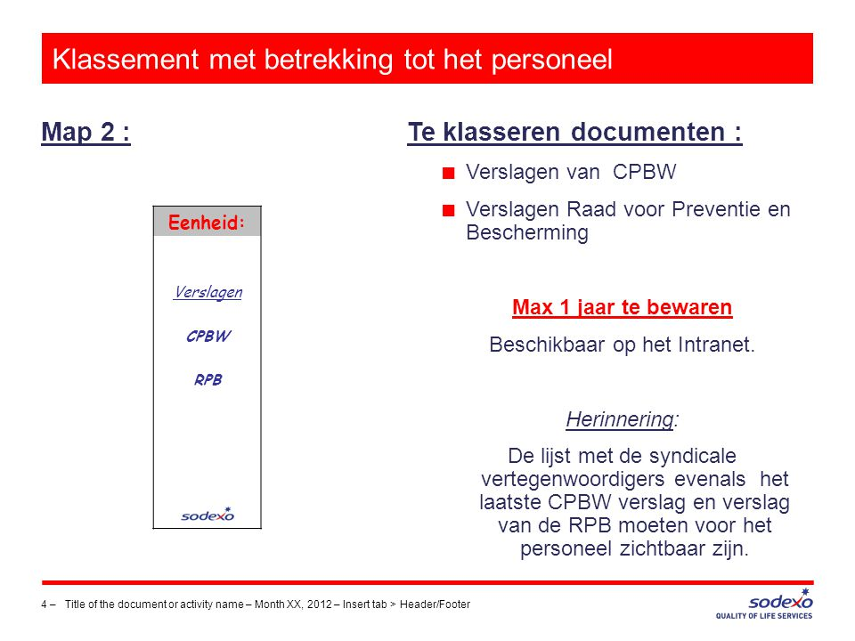 Klassement met betrekking tot het personeel Map 2 : 4 –Title of the document or activity name – Month XX, 2012 – Insert tab > Header/Footer Te klasser