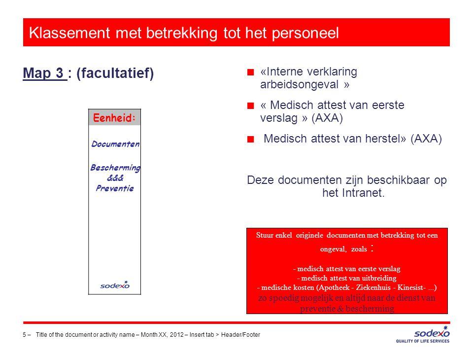 Klassement met betrekking tot het personeel Map 4 : 6 –Title of the document or activity name – Month XX, 2012 – Insert tab > Header/Footer Eenheid: B.E.V.
