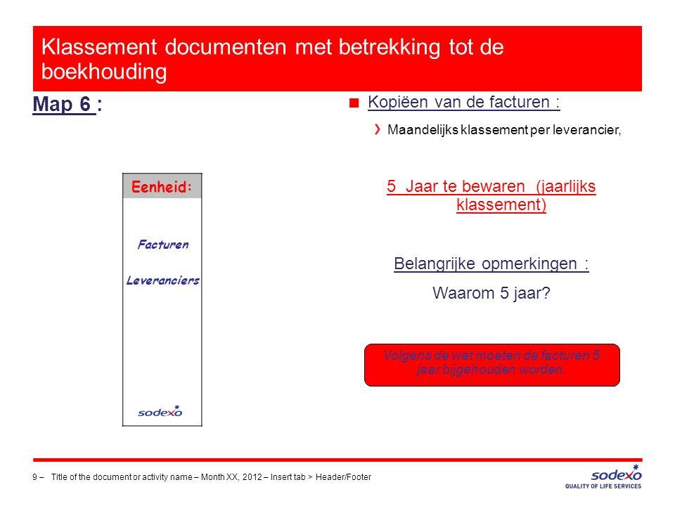 Klassement documenten met betrekking tot de boekhouding Map 6 : 9 –Title of the document or activity name – Month XX, 2012 – Insert tab > Header/Foote