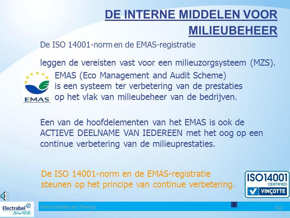 Kerncentrale van Tihange 102 DE INTERNE MIDDELEN VOOR MILIEUBEHEER De ISO 14001-norm en de EMAS-registratie leggen de vereisten vast voor een milieuzorgsysteem (MZS).
