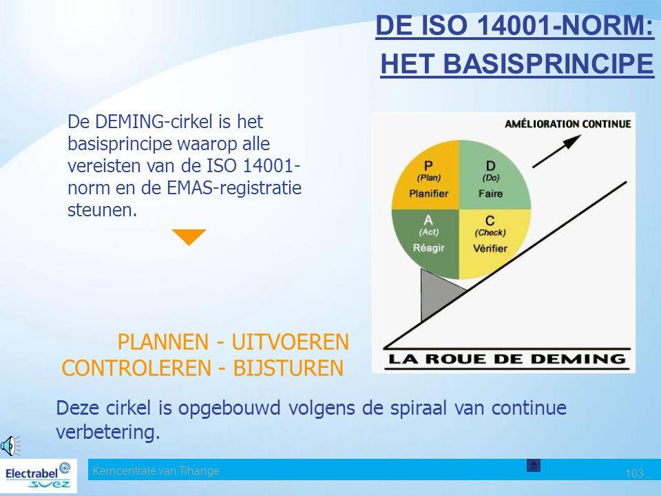 Kerncentrale van Tihange 102 DE INTERNE MIDDELEN VOOR MILIEUBEHEER De ISO 14001-norm en de EMAS-registratie leggen de vereisten vast voor een milieuzo