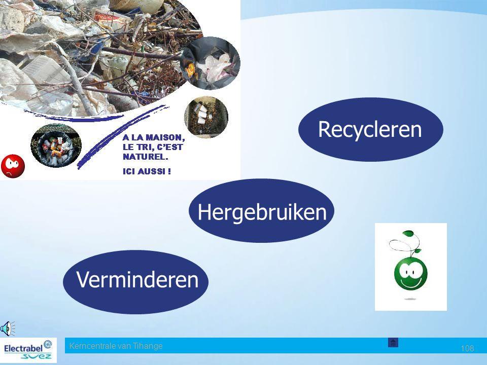 Kerncentrale van Tihange 107 BEHEER EN OPVOLGING VAN AFVAL de opslag van het afval het transport ervan de verwijdering ervan. Op het vlak van afvalbeh