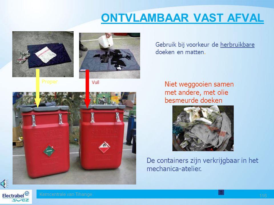 Kerncentrale van Tihange 116 ONTVLAMBAAR VAST AFVAL Gebruik bij voorkeur de herbruikbare doeken en matten.