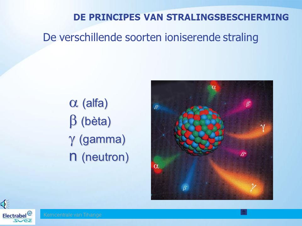 De verschillende soorten ioniserende straling  (alfa)  (bèta)  (gamma) n (neutron) DE PRINCIPES VAN STRALINGSBESCHERMING Kerncentrale van Tihange