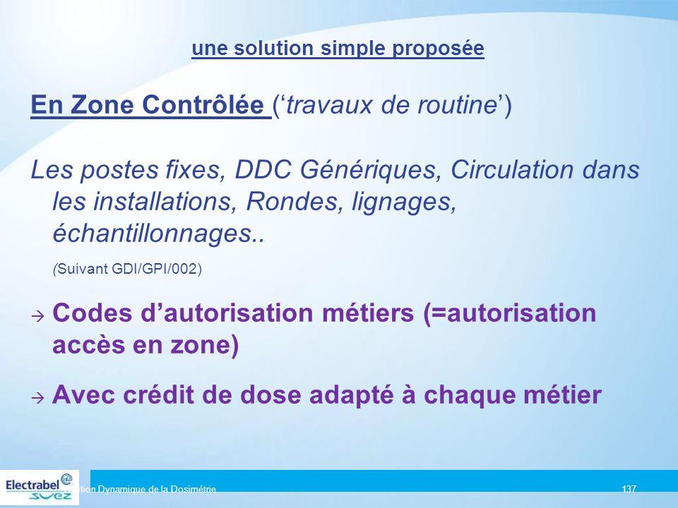 Un Principe simple Gestion Dynamique de la Dosimétrie136 Toute exposition aux radiations ionisantes doit être :  Justifiée  Optimisée en matière de