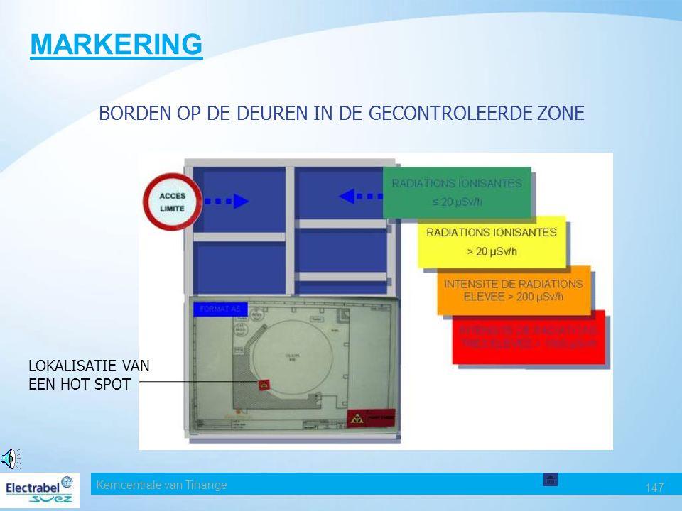 Kerncentrale van Tihange 147 MARKERING BORDEN OP DE DEUREN IN DE GECONTROLEERDE ZONE LOKALISATIE VAN EEN HOT SPOT