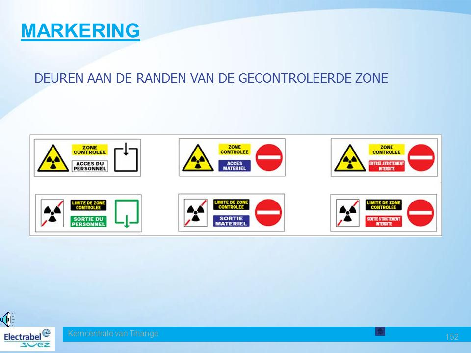 Kerncentrale van Tihange 152 MARKERING DEUREN AAN DE RANDEN VAN DE GECONTROLEERDE ZONE