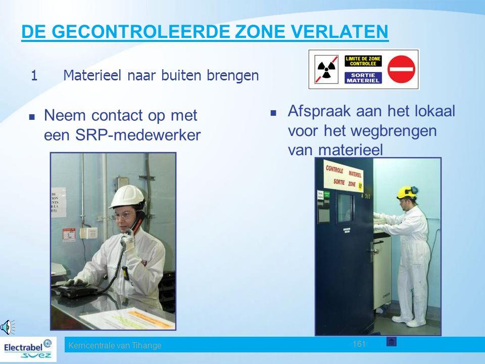 Kerncentrale van Tihange 161 DE GECONTROLEERDE ZONE VERLATEN Neem contact op met een SRP-medewerker Afspraak aan het lokaal voor het wegbrengen van materieel 1Materieel naar buiten brengen