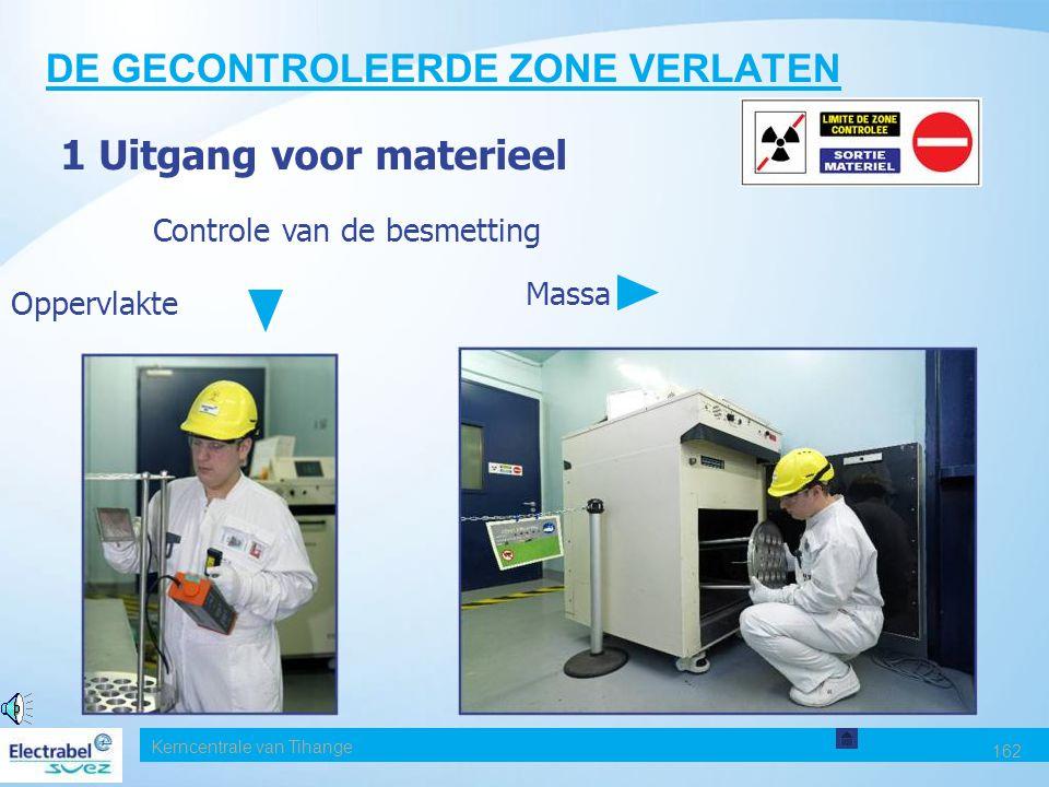 Kerncentrale van Tihange 162 DE GECONTROLEERDE ZONE VERLATEN 1 Uitgang voor materieel Controle van de besmetting Massa Oppervlakte