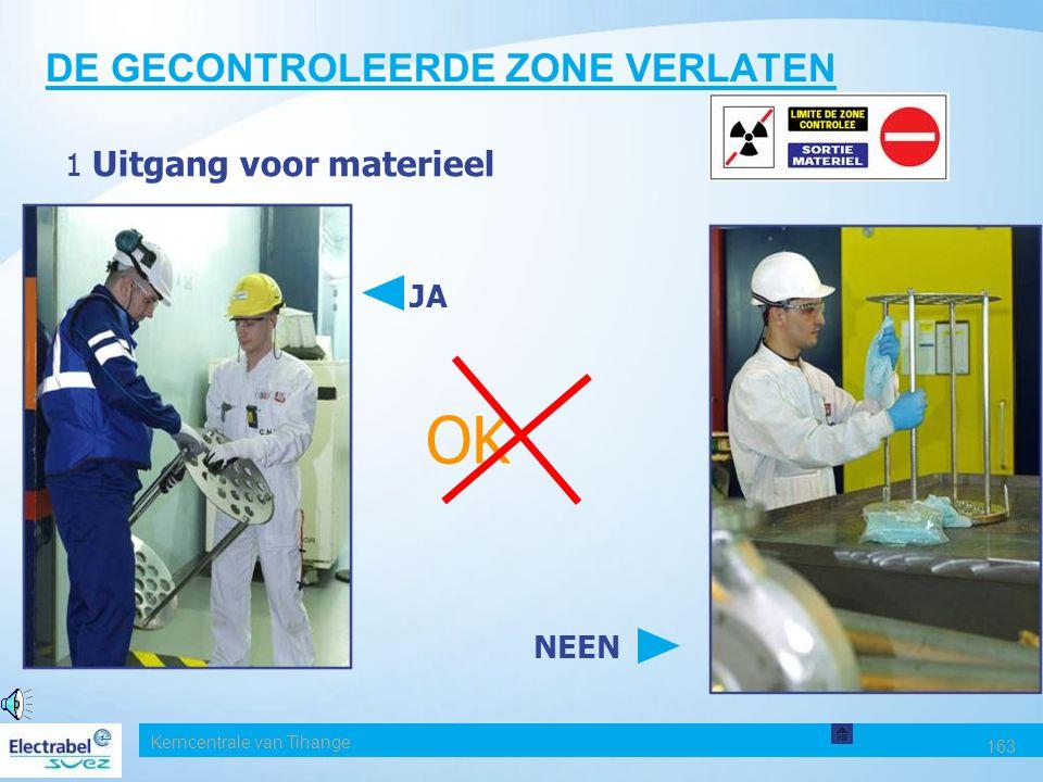 Kerncentrale van Tihange 163 DE GECONTROLEERDE ZONE VERLATEN 1 Uitgang voor materieel NEEN JA OK