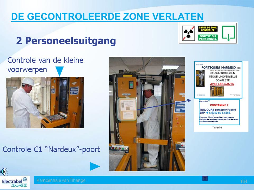 Kerncentrale van Tihange 164 DE GECONTROLEERDE ZONE VERLATEN 2 Personeelsuitgang Controle C1 Nardeux -poort Controle van de kleine voorwerpen