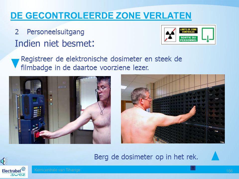Kerncentrale van Tihange 165 DE GECONTROLEERDE ZONE VERLATEN 2. Personeelsuitgang Controle poort C2 - IPM9 Controle voorkant, daarna achterkant De kle