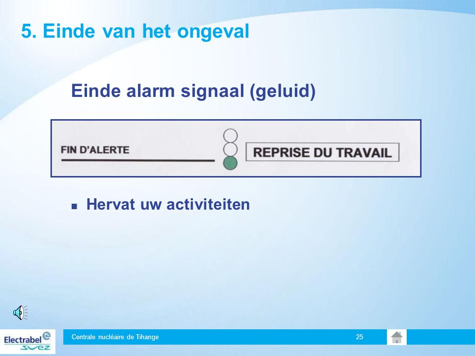 Centrale nucléaire de Tihange 24 4. Interventie van de hulpdiensten hulpdiensten: Intern > EIP Extern > Brandweer, MUG, ambulancedienst