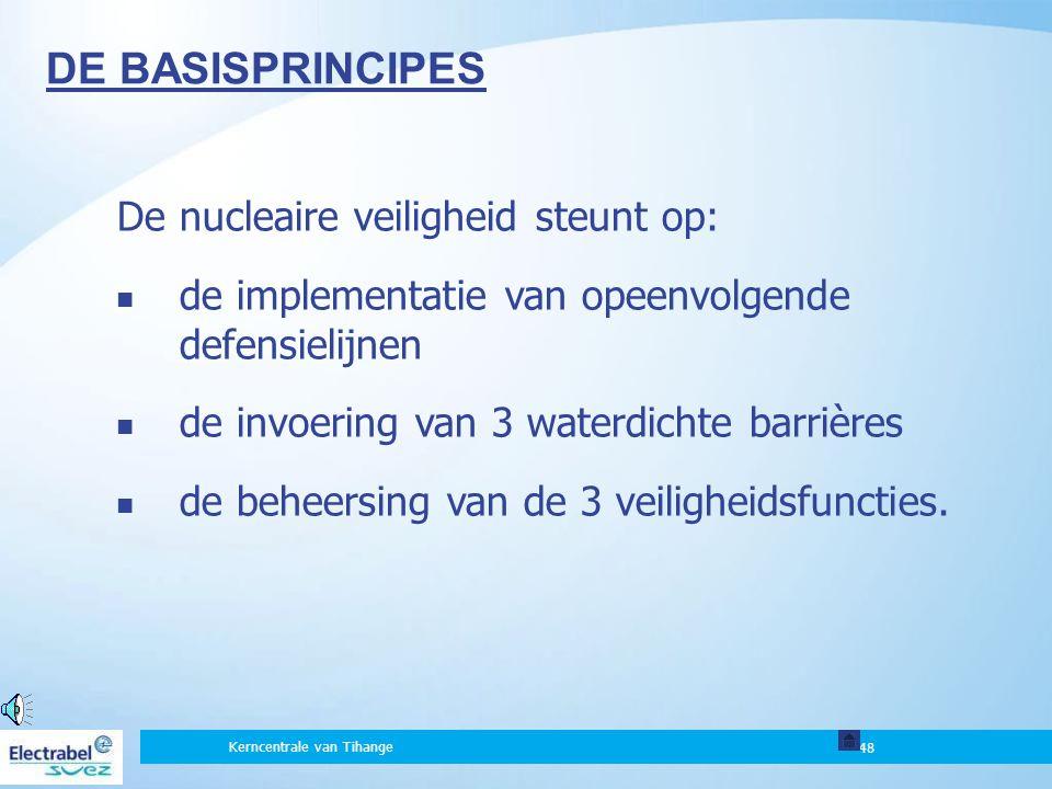 48 De nucleaire veiligheid steunt op: de implementatie van opeenvolgende defensielijnen de invoering van 3 waterdichte barrières de beheersing van de 3 veiligheidsfuncties.