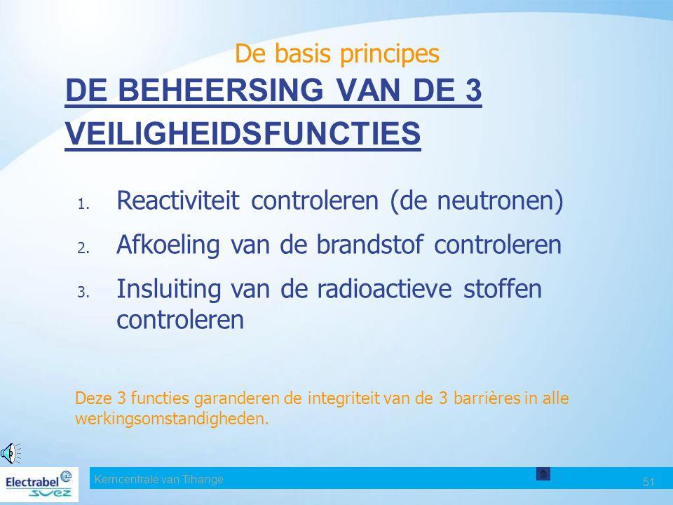 Kerncentrale van Tihange 51 DE BEHEERSING VAN DE 3 VEILIGHEIDSFUNCTIES 1.
