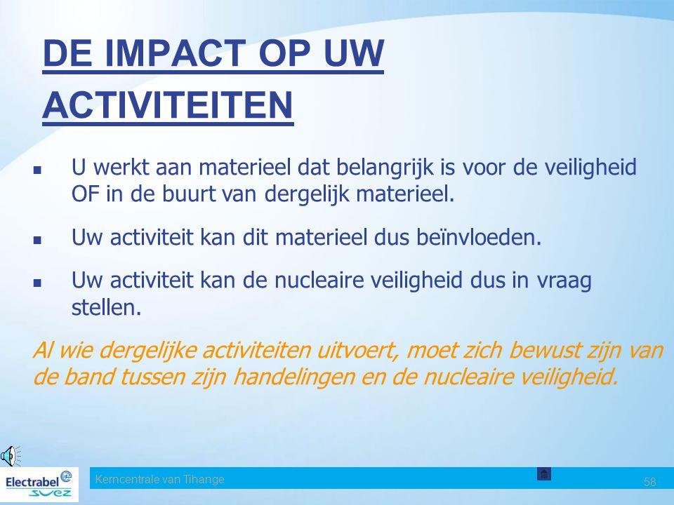 Kerncentrale van Tihange 58 DE IMPACT OP UW ACTIVITEITEN U werkt aan materieel dat belangrijk is voor de veiligheid OF in de buurt van dergelijk materieel.