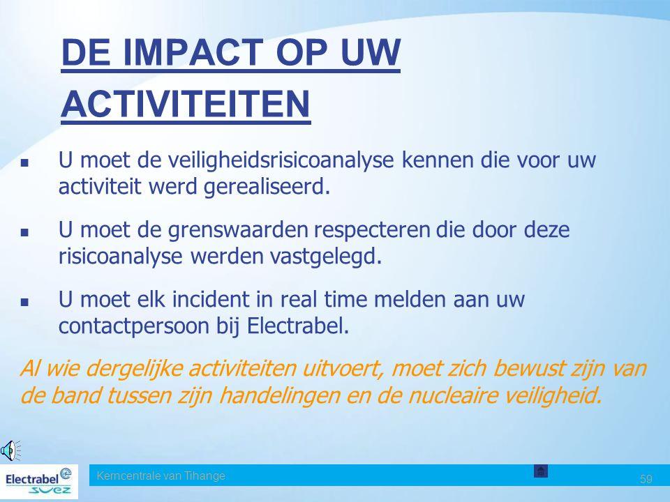 Kerncentrale van Tihange 59 DE IMPACT OP UW ACTIVITEITEN U moet de veiligheidsrisicoanalyse kennen die voor uw activiteit werd gerealiseerd.