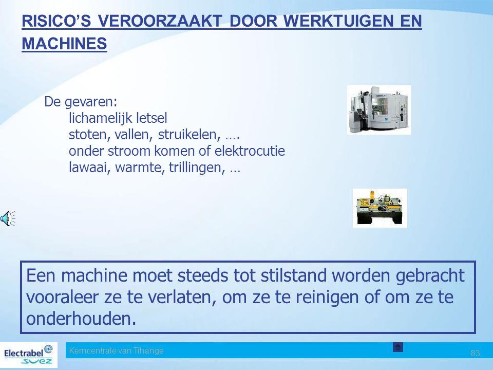 Kerncentrale van Tihange 83 RISICO'S VEROORZAAKT DOOR WERKTUIGEN EN MACHINES De gevaren: lichamelijk letsel stoten, vallen, struikelen, ….