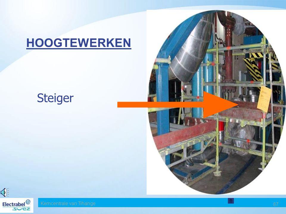 Kerncentrale van Tihange 86 RISICO VEROORZAAKT DOOR HOOGTEWERKEN Enkele aanbevelingen m.b.t. mobiele ladders Gebruik een ladder nooit: als er een tred