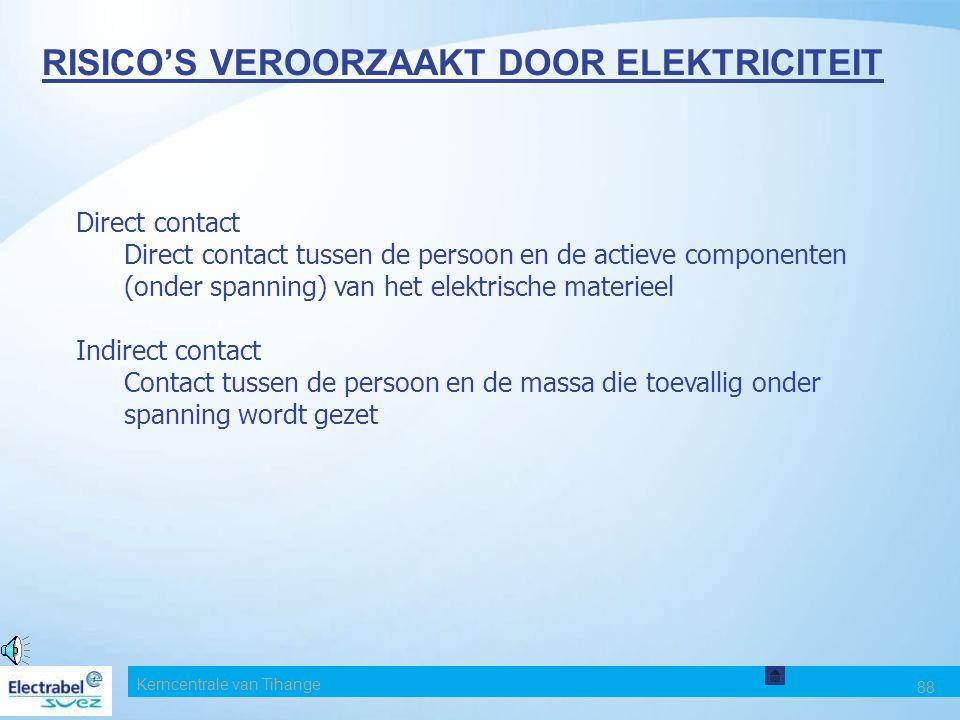 Kerncentrale van Tihange 88 RISICO'S VEROORZAAKT DOOR ELEKTRICITEIT Direct contact Direct contact tussen de persoon en de actieve componenten (onder spanning) van het elektrische materieel Indirect contact Contact tussen de persoon en de massa die toevallig onder spanning wordt gezet