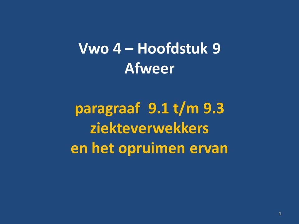 Vwo 4 – Hoofdstuk 9 Afweer paragraaf 9.1 t/m 9.3 ziekteverwekkers en het opruimen ervan 1
