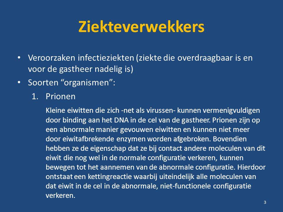 Ziekteverwekkers Veroorzaken infectieziekten (ziekte die overdraagbaar is en voor de gastheer nadelig is) Soorten organismen : 1.Prionen 2.Virussen 3.Bacteriën 4.Schimmels 5.Eencellige dieren 6.Wormen 7.Geleedpotigen (schrurftmijt, hoofdluis, schaamluis) 1 t/m 5 = micro organismen 4