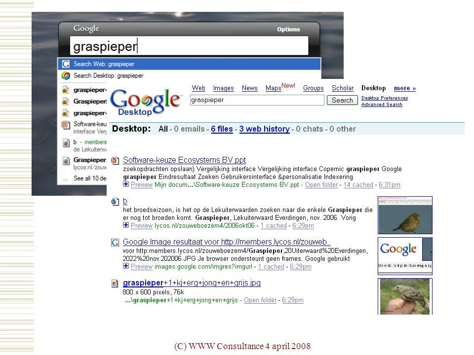(C) WWW Consultance 4 april 2008 Google  graspieper
