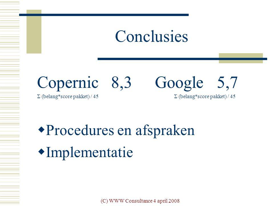 (C) WWW Consultance 4 april 2008 Conclusies Copernic 8,3 Google 5,7  (belang*score pakket) / 45  Procedures en afspraken  Implementatie