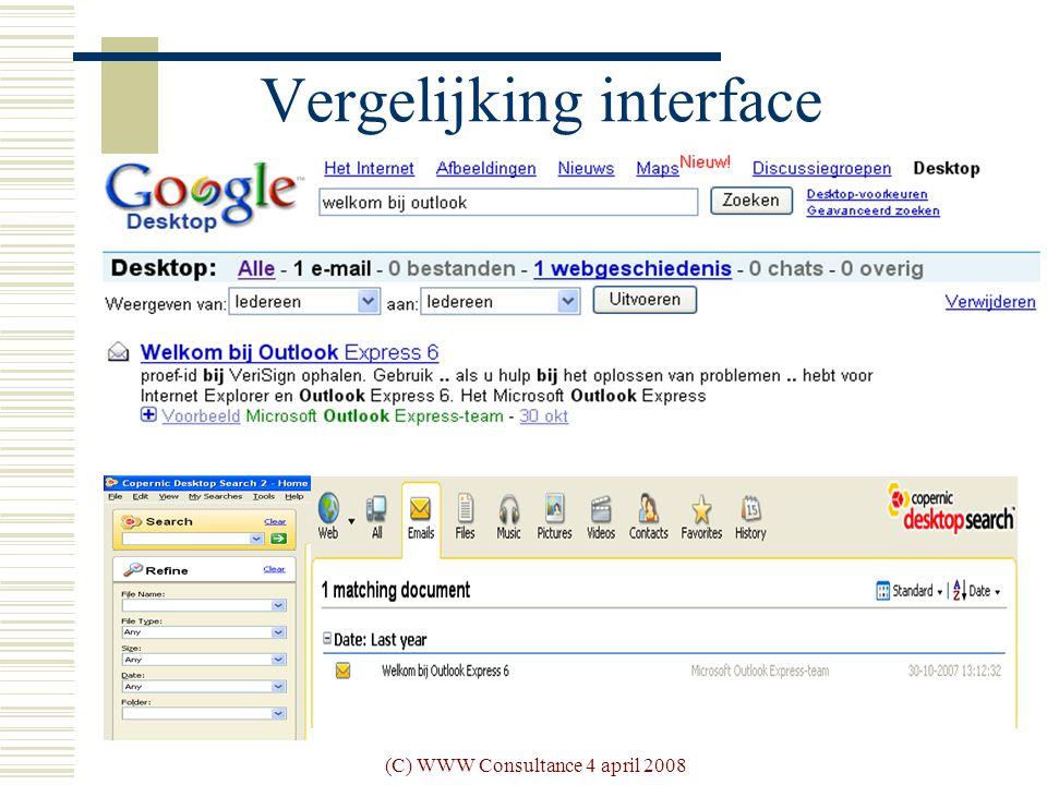 (C) WWW Consultance 4 april 2008 Vergelijking interface