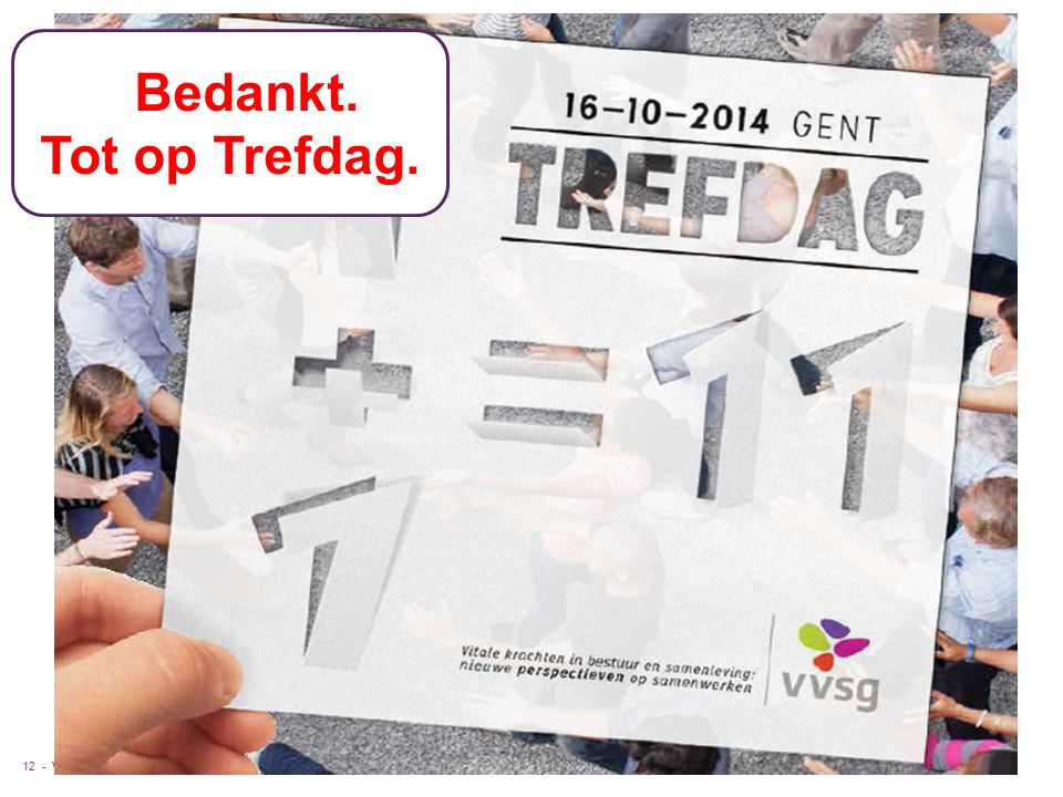 VVSG - Pas aan bij: Invoegen / Koptekst en Voettekst12 -6-9-2014 TBedankt. Tot op Trefdag.
