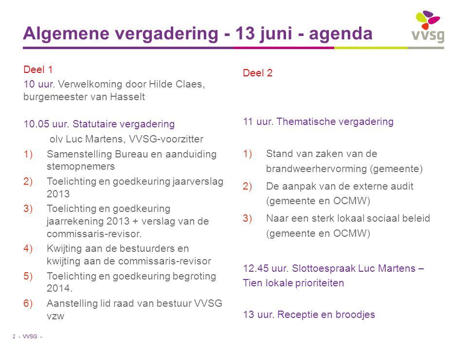 VVSG - Deel 1 10 uur. Verwelkoming door Hilde Claes, burgemeester van Hasselt 10.05 uur.