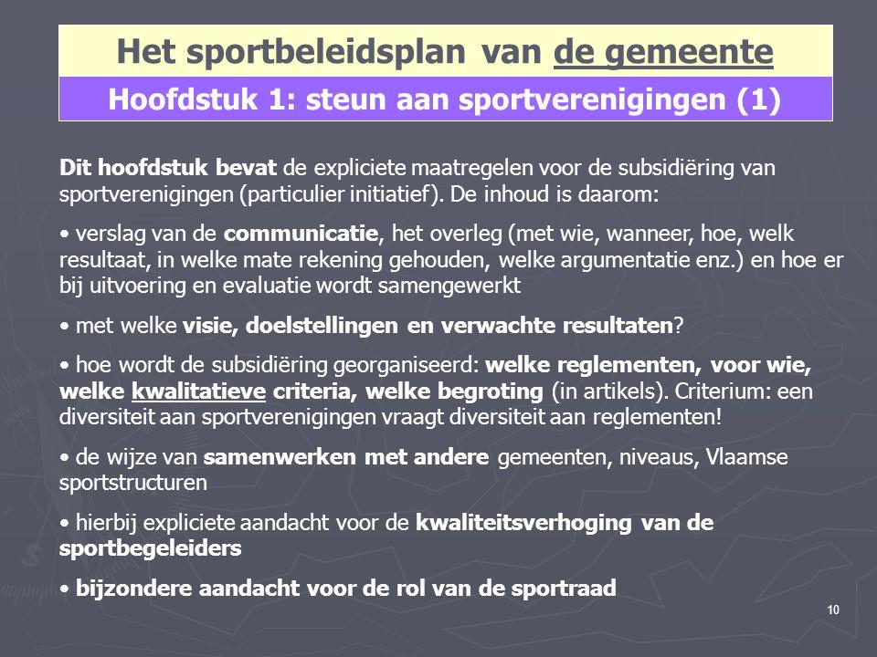 10 Het sportbeleidsplan van de gemeente Hoofdstuk 1: steun aan sportverenigingen (1) Dit hoofdstuk bevat de expliciete maatregelen voor de subsidiërin