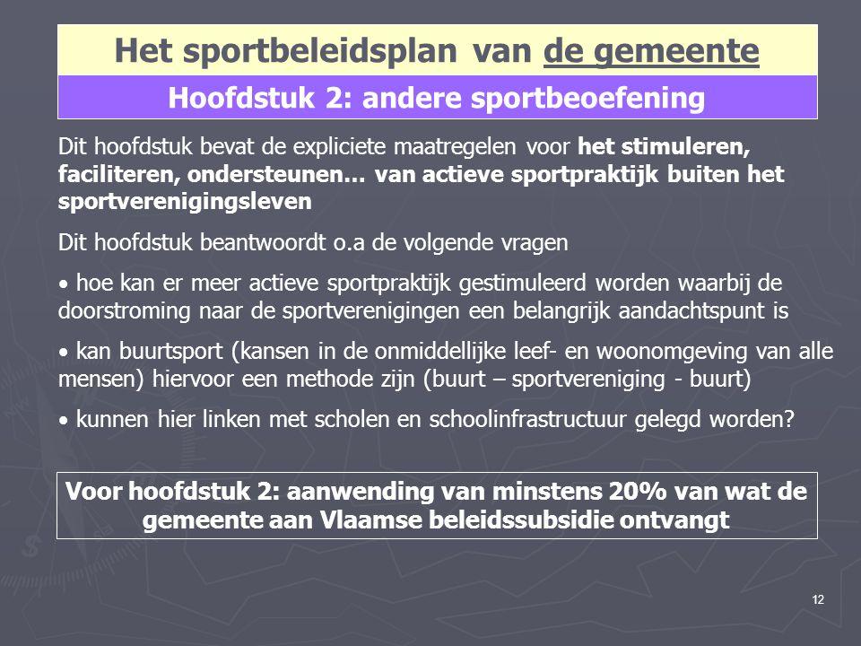 12 Hoofdstuk 2: andere sportbeoefening Het sportbeleidsplan van de gemeente Dit hoofdstuk bevat de expliciete maatregelen voor het stimuleren, facilit
