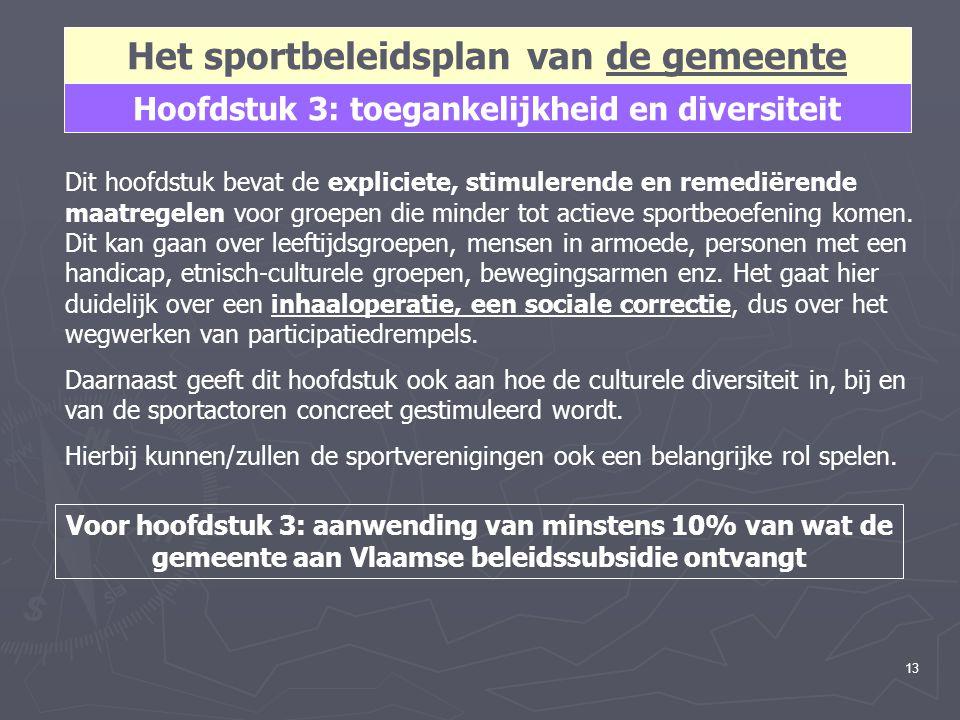 13 Hoofdstuk 3: toegankelijkheid en diversiteit Het sportbeleidsplan van de gemeente Dit hoofdstuk bevat de expliciete, stimulerende en remediërende maatregelen voor groepen die minder tot actieve sportbeoefening komen.