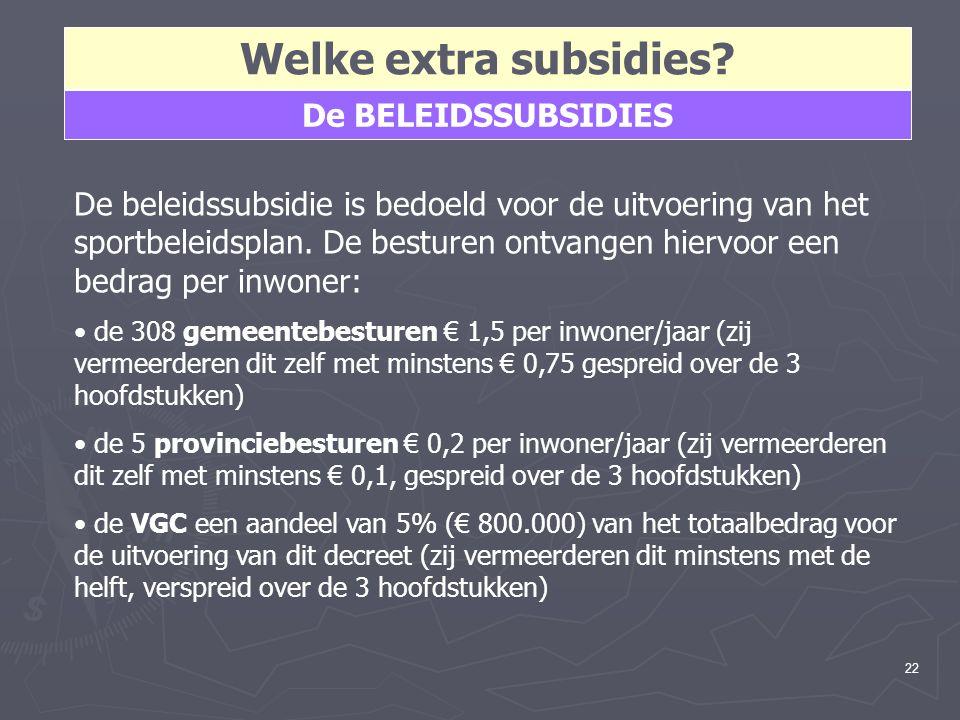 22 Welke extra subsidies? De BELEIDSSUBSIDIES De beleidssubsidie is bedoeld voor de uitvoering van het sportbeleidsplan. De besturen ontvangen hiervoo