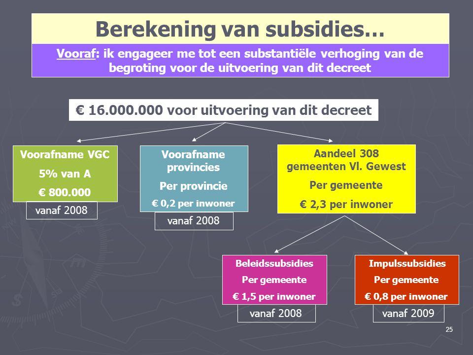 25 Berekening van subsidies… Vooraf: ik engageer me tot een substantiële verhoging van de begroting voor de uitvoering van dit decreet € 16.000.000 vo