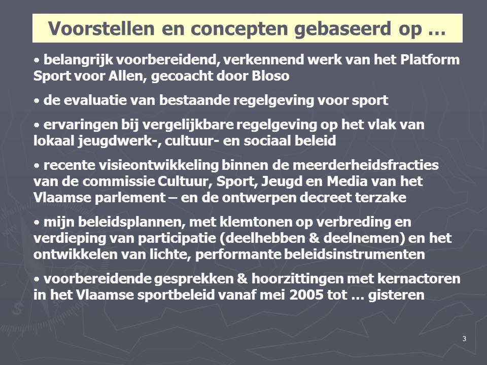 3 belangrijk voorbereidend, verkennend werk van het Platform Sport voor Allen, gecoacht door Bloso de evaluatie van bestaande regelgeving voor sport ervaringen bij vergelijkbare regelgeving op het vlak van lokaal jeugdwerk-, cultuur- en sociaal beleid recente visieontwikkeling binnen de meerderheidsfracties van de commissie Cultuur, Sport, Jeugd en Media van het Vlaamse parlement – en de ontwerpen decreet terzake mijn beleidsplannen, met klemtonen op verbreding en verdieping van participatie (deelhebben & deelnemen) en het ontwikkelen van lichte, performante beleidsinstrumenten voorbereidende gesprekken & hoorzittingen met kernactoren in het Vlaamse sportbeleid vanaf mei 2005 tot … gisteren Voorstellen en concepten gebaseerd op …