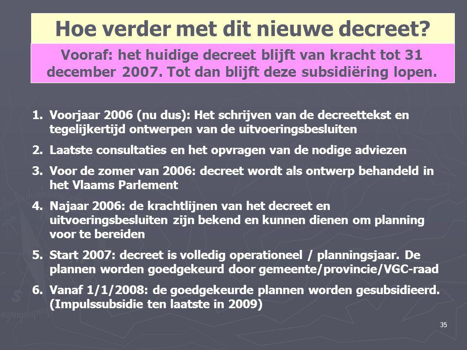 35 Hoe verder met dit nieuwe decreet? 1.Voorjaar 2006 (nu dus): Het schrijven van de decreettekst en tegelijkertijd ontwerpen van de uitvoeringsbeslui